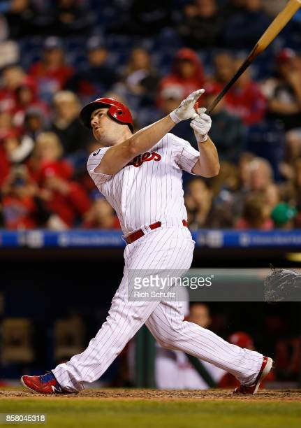 Tommy Joseph of the Philadelphia Phillies in action against the New York Mets during a game at Citizens Bank Park on September 30 2017 in...
