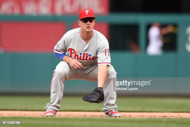 Tommy Joseph of the Philadelphia Phillies in position during the game against the Washington Nationals at Nationals Park on April 16 2017 in...