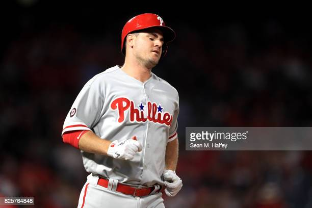 Tommy Joseph of the Philadelphia Phillies looks on after flying out during the sixth inning of a game against the Los Angeles Angels of Anaheim at...