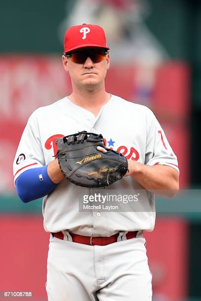 Tommy Joseph of the Philadelphia Phillies looks on during the game against the Washington Nationals at Nationals Park on April 16 2017 in Washington...
