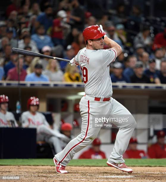 Tommy Joseph of the Philadelphia Phillies plays during a baseball game against the San Diego Padres at PETCO Park on August 14 2017 in San Diego...