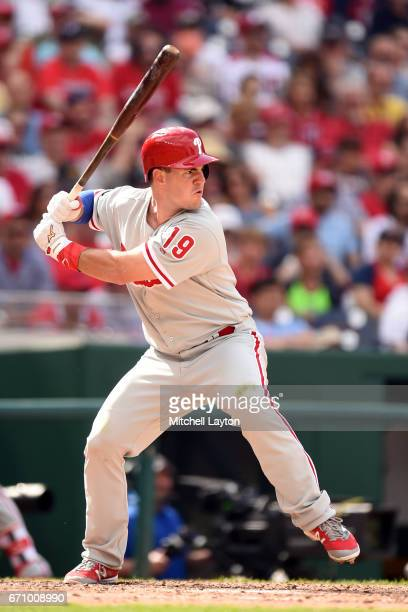Tommy Joseph of the Philadelphia Phillies prepares for a pitch during the game against the Washington Nationals at Nationals Park on April 16 2017 in...