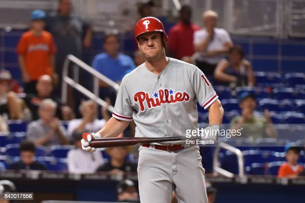 Tommy Joseph of the Philadelphia Phillies reacts after striking out in the eighth inning against the Miami Marlins at Marlins Park on September 2...