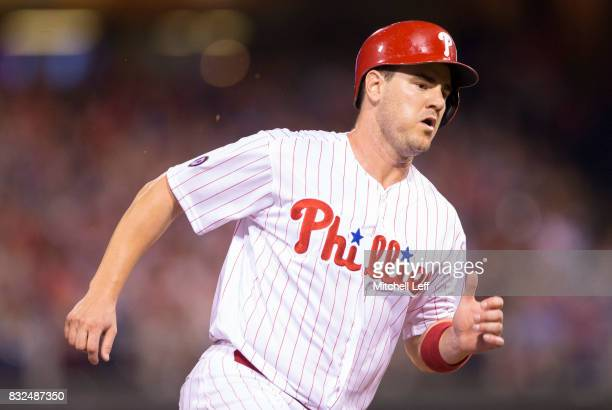 Tommy Joseph of the Philadelphia Phillies runs to third against the New York Mets at Citizens Bank Park on August 11 2017 in Philadelphia Pennsylvania
