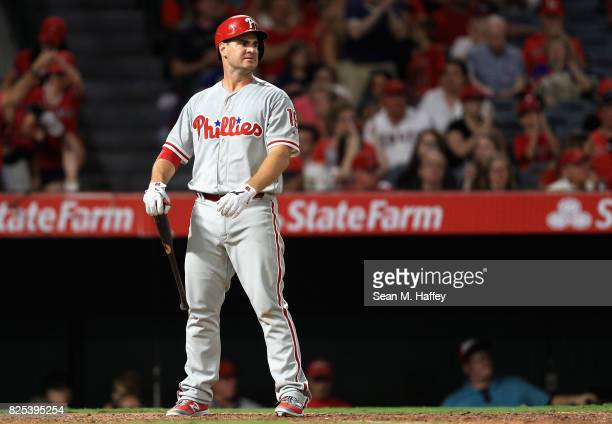 Tommy Joseph of the Philadelphia Phillies strikes out with bases during the seventh inning of a game against the Los Angeles Angels of Anaheim at...