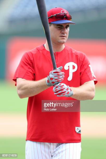Tommy Joseph of the Philadelphia Phillies takes batting practice before the game against the Atlanta Braves at Citizens Bank Park on July 28 2017 in...