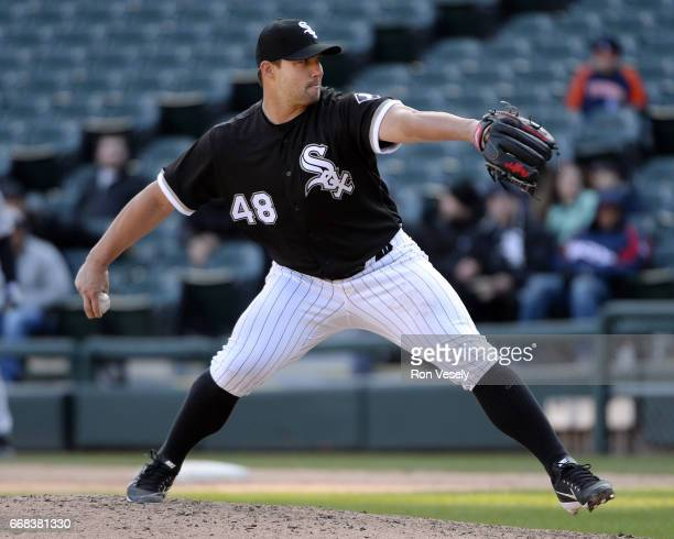 Tommy Kahnle of the Chicago White Sox pitches against the Detroit Tigers on April 6 2017 at Guaranteed Rate Field in Chicago Illinois The White Sox...