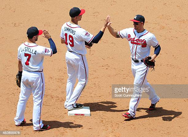 Tommy La Stella Andrelton Simmons and Jordan Schafer of the Atlanta Braves celebrate after the game against the San Diego Padres at Turner Field on...