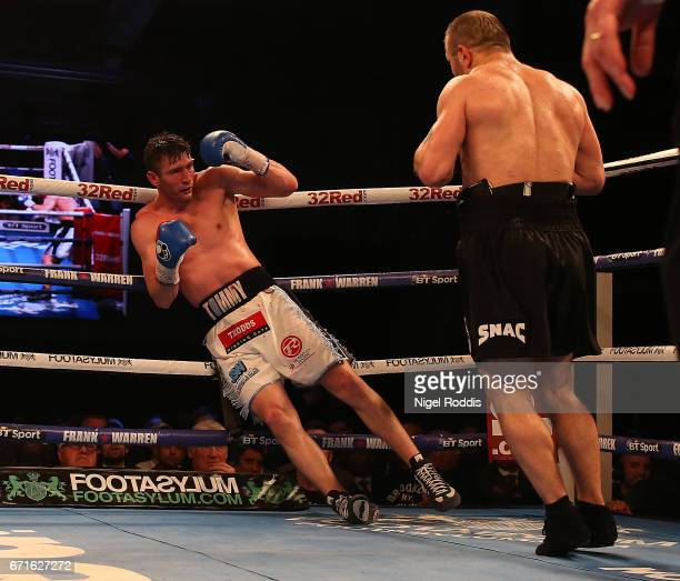 Tommy Langford is knocked out by Avtandil Khurtsidze for the Interim WBO World Middleweight Title at the Leicester Arena on April 22 2017 in...