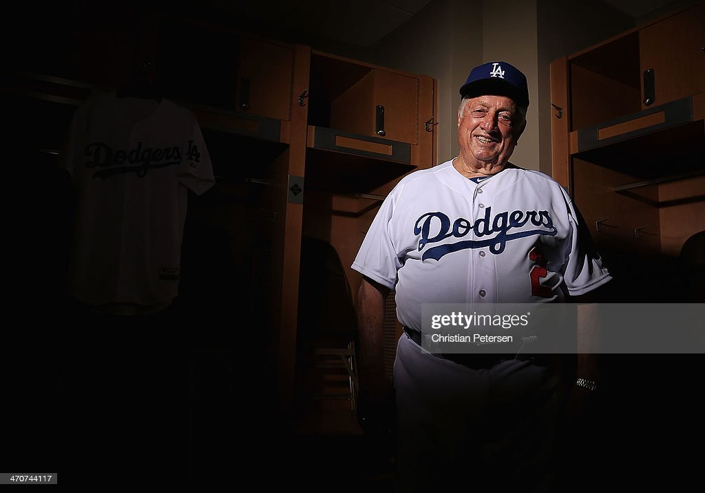 Tommy Lasorda of the Los Angeles Dodgers poses for a portrait during spring training photo day at Camelback Ranch on February 20 2014 in Glendale...