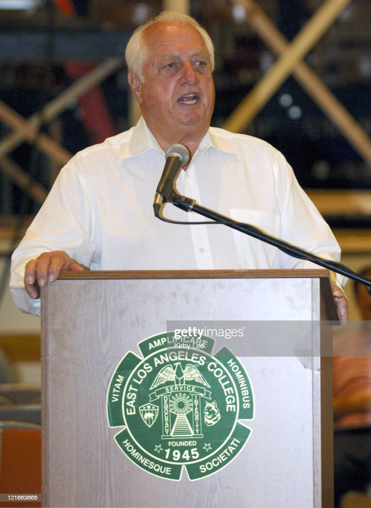 Tommy Lasorda serves a keynote speaker for Los Angeles Unified School District Student Athletic Leadership Conference at East Los Angeles College in...
