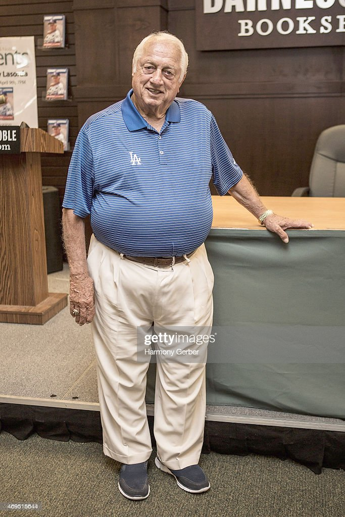 Tommy Lasorda signs and discusses his new book 'Tommy Lasorda My Way' at Barnes Noble bookstore at The Grove on April 12 2015 in Los Angeles...