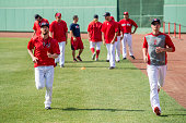 Tommy Layne and Clay Buchholz of the Boston Red Sox run sprints before a game against the Minnesota Twins on July 21 2016 at Fenway Park in Boston...