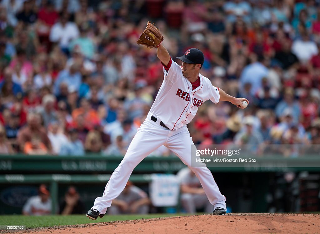 Tommy Layne #59 of the Boston Red Sox pitches during the fifth inning against the Baltimore Orioles at Fenway Park in Boston, Massachusetts on June 25, 2015.