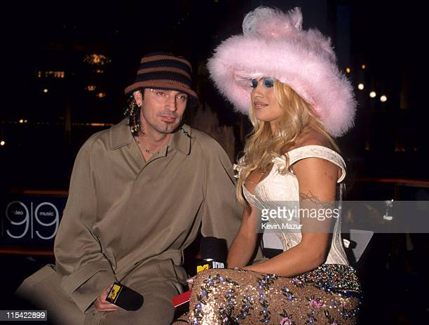Tommy Lee and Pamela Anderson during The 1999 MTV Video Music Awards at Metropolitan Opera House in New York City New York United States