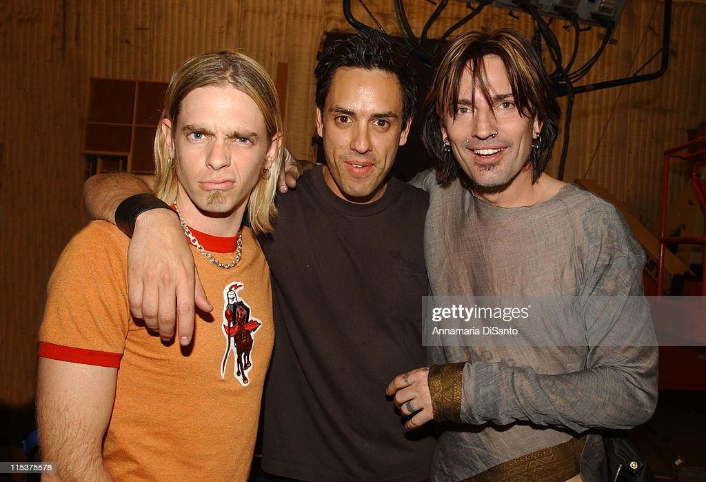 Tommy Lee band with Bobby, drummer of <a gi-track='captionPersonalityLinkClicked' href=/galleries/search?phrase=Orgy&family=editorial&specificpeople=220315 ng-click='$event.stopPropagation()'>Orgy</a> during Tommy Lee 'Hold Me Down' Video Shoot at Hollywood Studios in Los Angeles, California, United States.