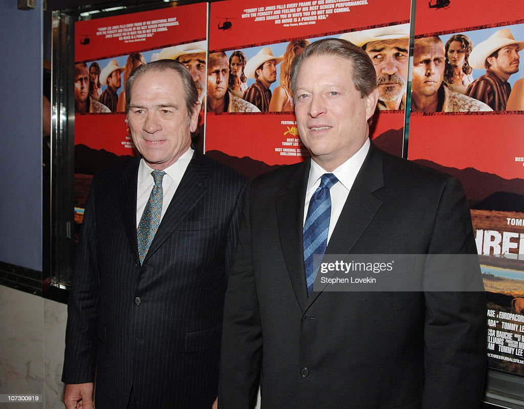 Tommy Lee Jones and Al Gore during 'The Three Burials of Melquiades Estrada' New York City Premiere - Inside Arrivals at The Paris Theatre in New York City, New York, United States.