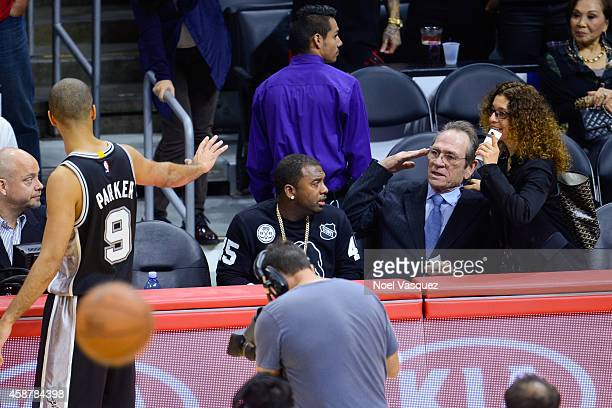 Tommy Lee Jones and his wife Dawn LaurelJones attend a basketball game between the San Antonio Spurs and the Los Angeles Clippers at Staples Center...