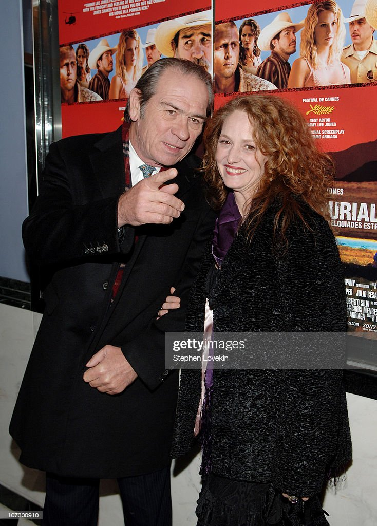 Tommy Lee Jones and Melissa Leo during 'The Three Burials of Melquiades Estrada' New York City Premiere - Inside Arrivals at The Paris Theatre in New York City, New York, United States.