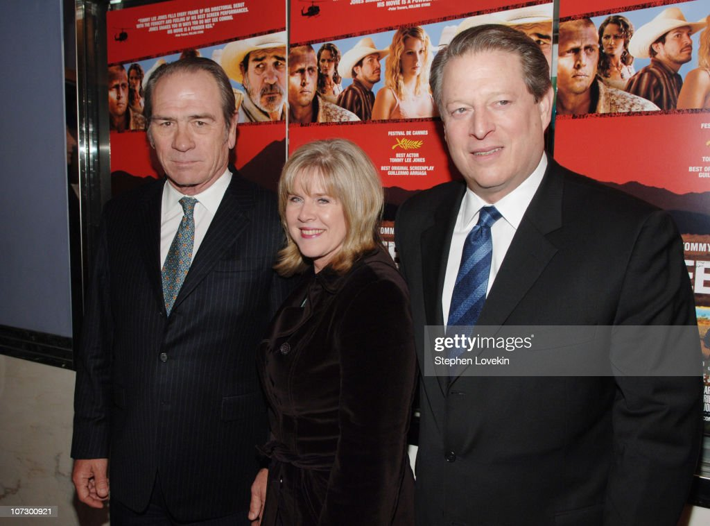 Tommy Lee Jones, Tipper Gore, and Al Gore during 'The Three Burials of Melquiades Estrada' New York City Premiere - Inside Arrivals at The Paris Theatre in New York City, New York, United States.