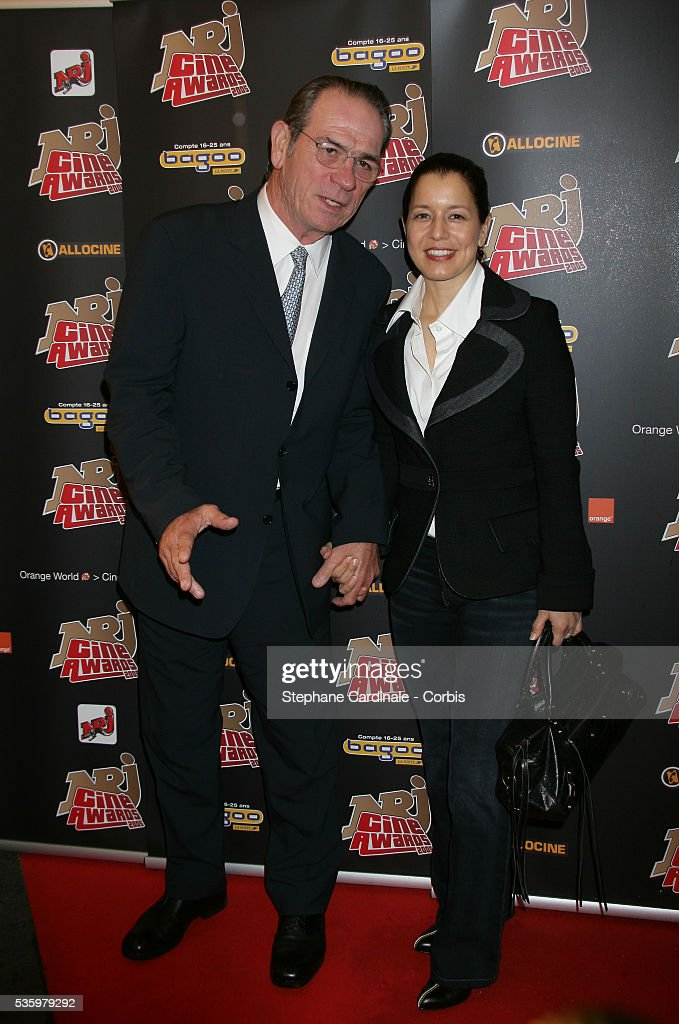 Tommy Lee Jones with his wife attend the NRJ Cine Awards.