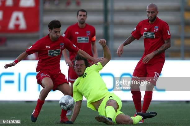 Tommy Maistrello of FC Ravenna Calcio compete for the ball against Lorenzo De Grazia of Teramo Calcio 1913 during the Lega Pro 17/18 group B match...