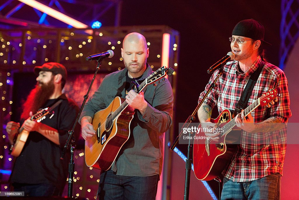 Tommy McCarthy, Mike Jacobs and Ryan Hakker perform at the 31st annual Texaco Country Showdown fational final at the Ryman Auditorium on January 17, 2013 in Nashville, Tennessee.