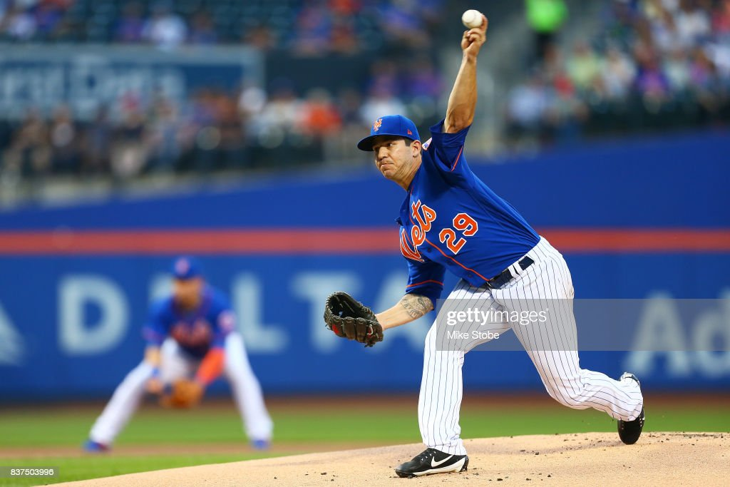 Tommy Milone #29 of the New York Mets piytches in the first inning against the Arizona Diamondbacks at Citi Field on August 22, 2017 in the Flushing neighborhood of the Queens borough of New York City.