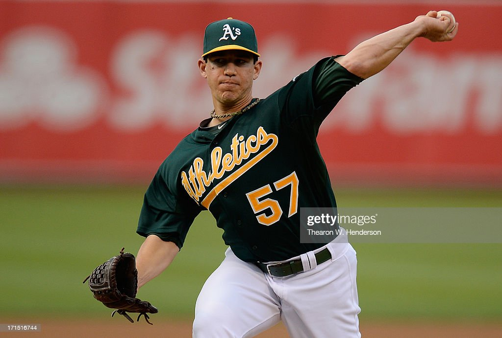 <a gi-track='captionPersonalityLinkClicked' href=/galleries/search?phrase=Tommy+Milone&family=editorial&specificpeople=8240408 ng-click='$event.stopPropagation()'>Tommy Milone</a> #57 of the Oakland Athletics pitches against the Cincinnati Reds at O.co Coliseum on June 25, 2013 in Oakland, California.