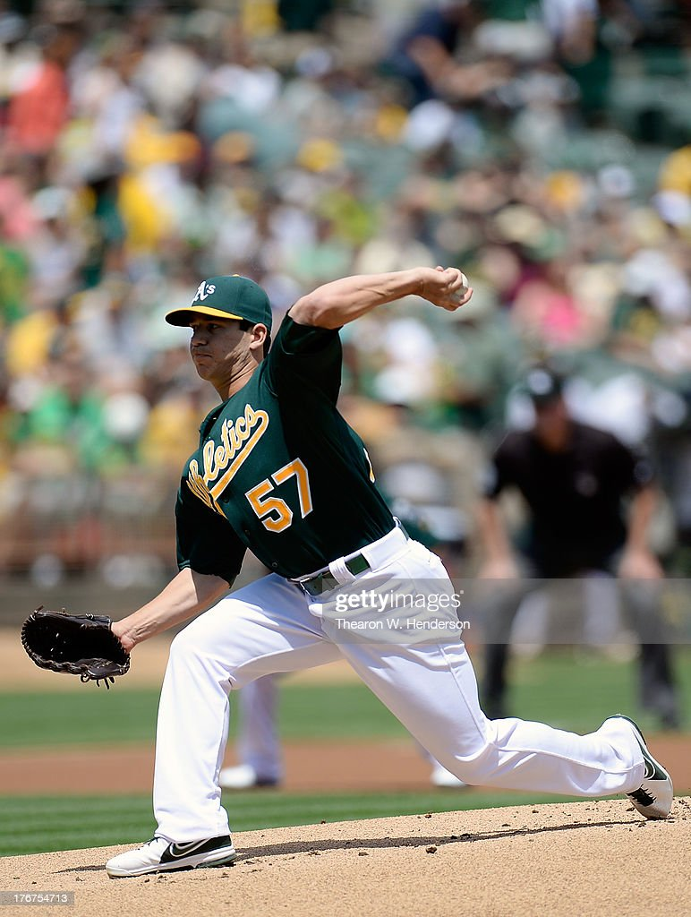 <a gi-track='captionPersonalityLinkClicked' href=/galleries/search?phrase=Tommy+Milone&family=editorial&specificpeople=8240408 ng-click='$event.stopPropagation()'>Tommy Milone</a> #57 of the Oakland Athletics pitches against the Cleveland Indians at O.co Coliseum on August 18, 2013 in Oakland, California.
