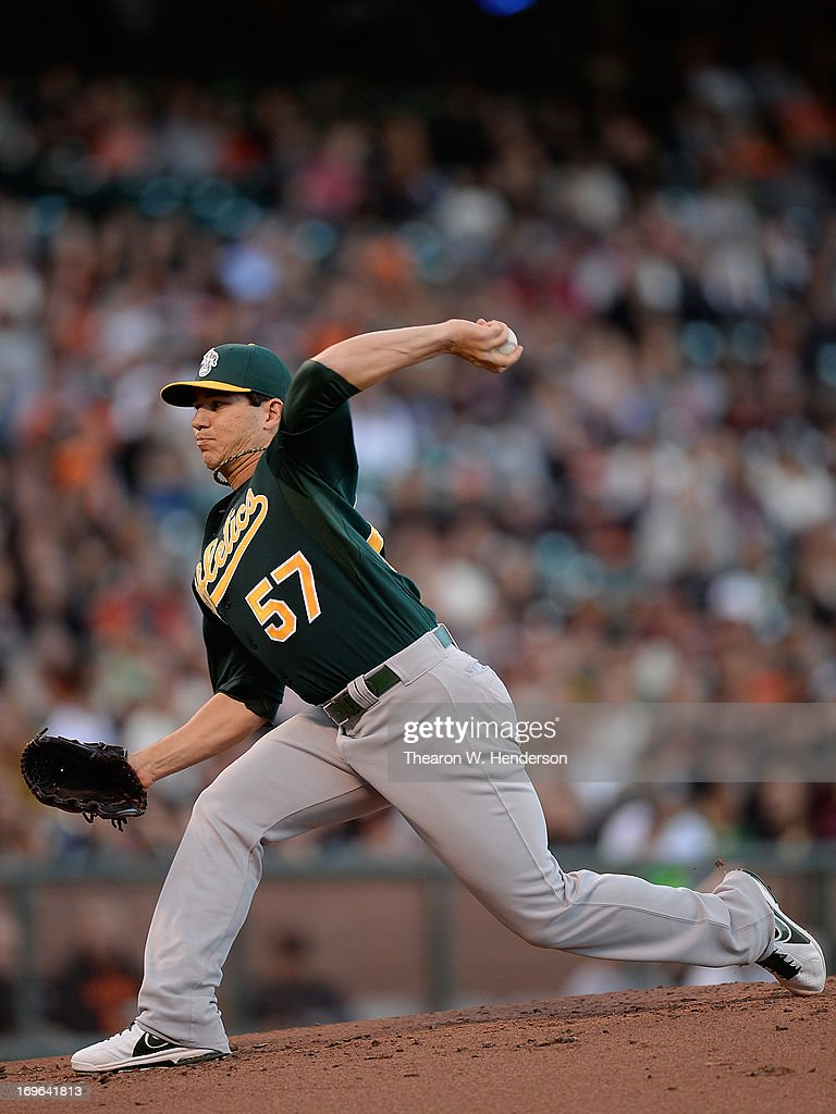 <a gi-track='captionPersonalityLinkClicked' href=/galleries/search?phrase=Tommy+Milone&family=editorial&specificpeople=8240408 ng-click='$event.stopPropagation()'>Tommy Milone</a> #57 of the Oakland Athletics pitches against the San Francisco Giants in the first inning at AT&T Park on May 29, 2013 in San Francisco, California.