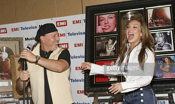 Tommy Mottola and Thalia during Cocktail Party in Honor of Thalia July 11 2006 at Mandarin Oriental Hotel in Miami Florida United States
