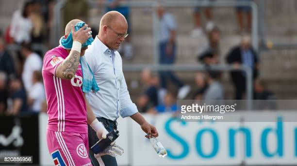 Tommy Naurin goalkeeper and Joel Cedergren head coach of GIF Sundsvall after 22 in the Allsvenskan match between Halmstad BK and GIF Sundsvall at...