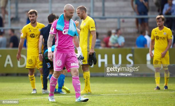 Tommy Naurin goalkeeper of GIF Sundsvall after 22 in the Allsvenskan match between Halmstad BK and GIF Sundsvall at Orjans Vall on July 22 2017 in...