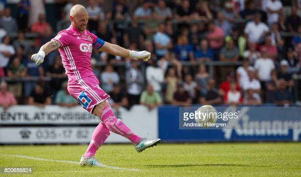 Tommy Naurin goalkeeper of GIF Sundsvall during the Allsvenskan match between Halmstad BK and GIF Sundsvall at Orjans Vall on July 22 2017 in...