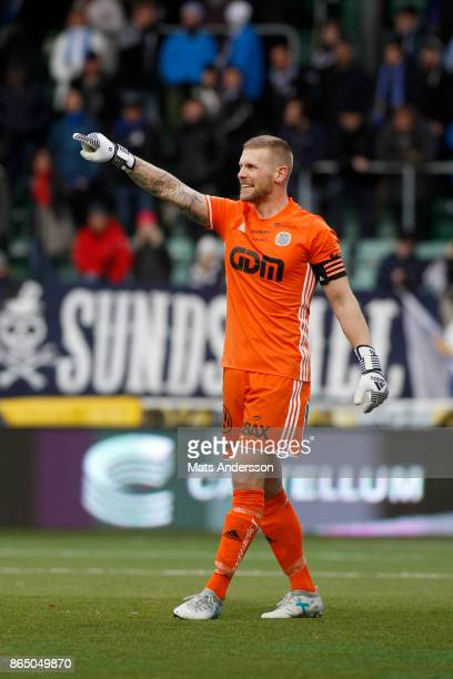 Tommy Naurin goalkeeper of GIF Sundsvall during the Allsvenskan match between GIF Sundsvall and IFK Norrkoping at Idrottsparken on October 22 2017 in...