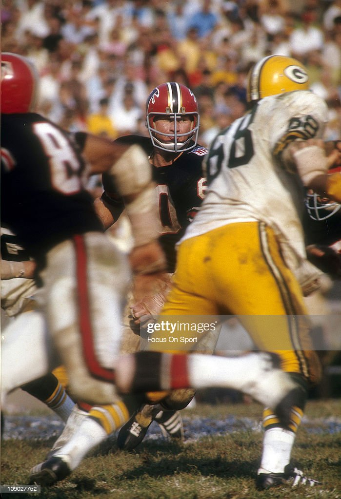 <a gi-track='captionPersonalityLinkClicked' href=/galleries/search?phrase=Tommy+Nobis&family=editorial&specificpeople=993224 ng-click='$event.stopPropagation()'>Tommy Nobis</a> #60 of the Atlanta Falcons in action against the Green Bay Packers during an NFL football game at Lambeau Field October 26, 1969 in Green Bay Wisconsin. Nobis played for the Falcons from 1966-76.