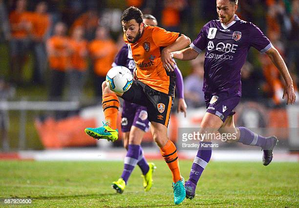 Tommy Oar of the Roar in action during the FFA Cup round of 32 match between the Brisbane Roar and Perth Glory at Ballymore Stadium on August 10 2016...