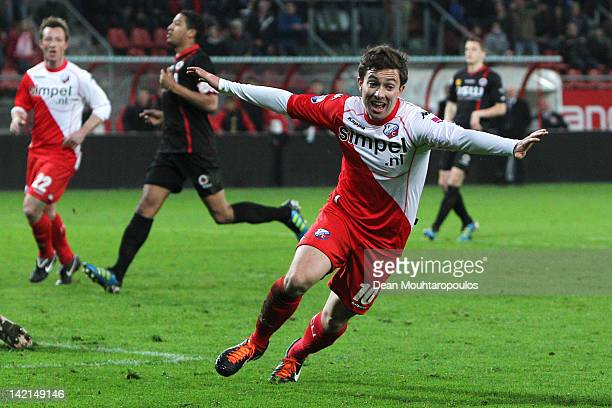 Tommy Oar of Utrecht celebrates after scoring the winning goal in the final minutes during the Eredivisie match between FC Utrecht and SC Excelsior...