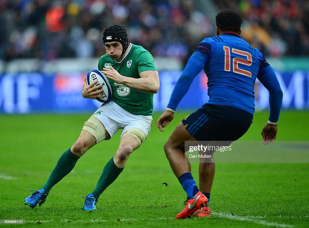 <a gi-track='captionPersonalityLinkClicked' href=/galleries/search?phrase=Tommy+O%27Donnell&family=editorial&specificpeople=9010293 ng-click='$event.stopPropagation()'>Tommy O'Donnell</a> of Ireland is challenged by Jonathan Danty of France during the RBS Six Nations match between France and Ireland at the Stade de France on February 13, 2016 in Paris, France.