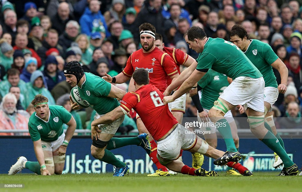 <a gi-track='captionPersonalityLinkClicked' href=/galleries/search?phrase=Tommy+O%27Donnell&family=editorial&specificpeople=9010293 ng-click='$event.stopPropagation()'>Tommy O'Donnell</a> of Ireland is tackled by <a gi-track='captionPersonalityLinkClicked' href=/galleries/search?phrase=Sam+Warburton+-+Rugby+Player&family=editorial&specificpeople=4234449 ng-click='$event.stopPropagation()'>Sam Warburton</a> of Wales during the RBS Six Nations match between Ireland and Wales at the Aviva Stadium on February 7, 2016 in Dublin, Ireland.
