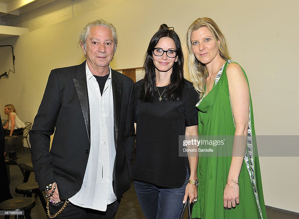 Tommy Perse of Maxfield, actress <a gi-track='captionPersonalityLinkClicked' href=/galleries/search?phrase=Courteney+Cox&family=editorial&specificpeople=203101 ng-click='$event.stopPropagation()'>Courteney Cox</a> and Haley Alexander Van Oosten of L'Oeil du Vert attend L'Oeil du Vert opening reception at Maxfield Gallery on April 30, 2014 in Los Angeles, California.