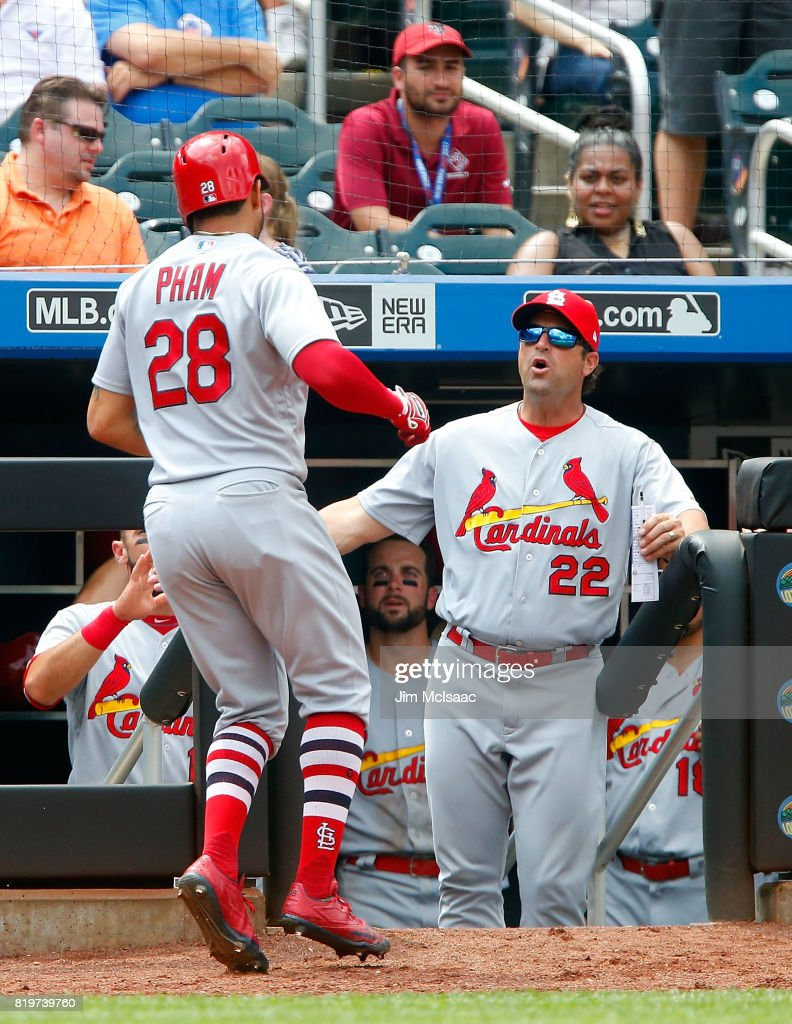 Tommy Pham #28 of the St. Louis Cardinals celebrates his eighth inning home run against the New York Mets with manager Mike Matheny #22 on July 20, 2017 at Citi Field in the Flushing neighborhood of the Queens borough of New York City.