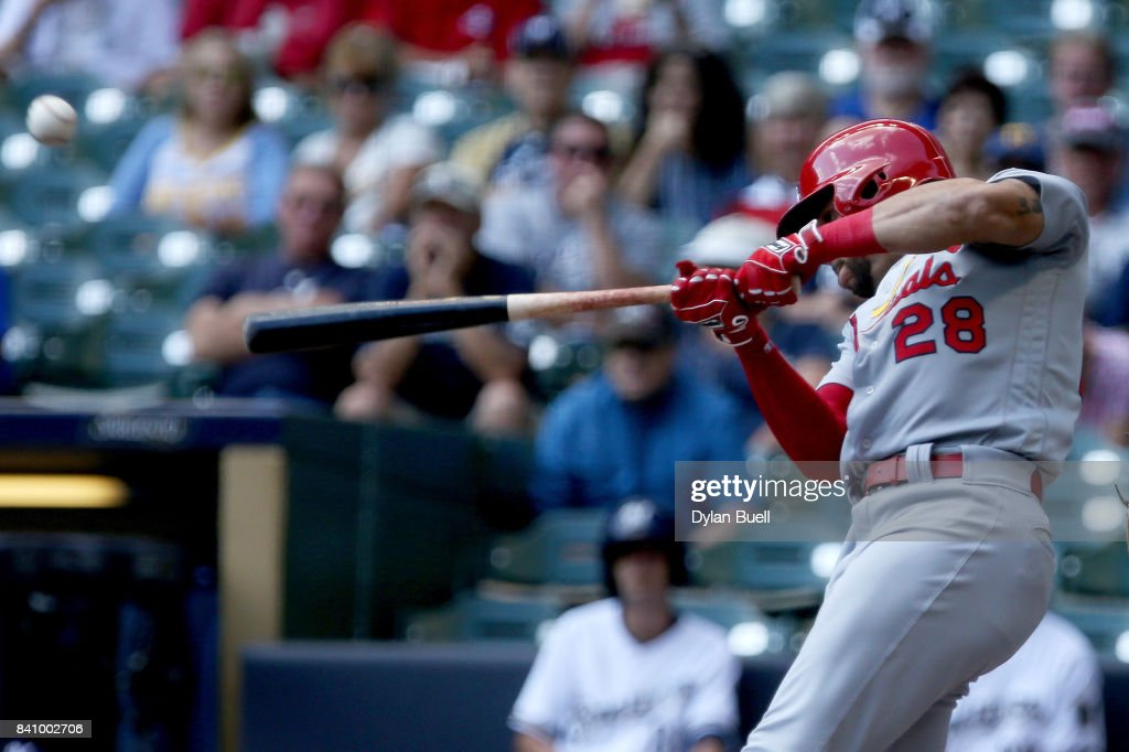Tommy Pham #28 of the St. Louis Cardinals hits a home run in the first inning against the Milwaukee Brewers at Miller Park on August 30, 2017 in Milwaukee, Wisconsin.