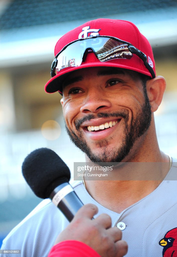 Tommy Pham #28 of the St. Louis Cardinals is interviewed after the game against the Atlanta Braves at SunTrust Park on May 7, 2017 in Atlanta, Georgia.