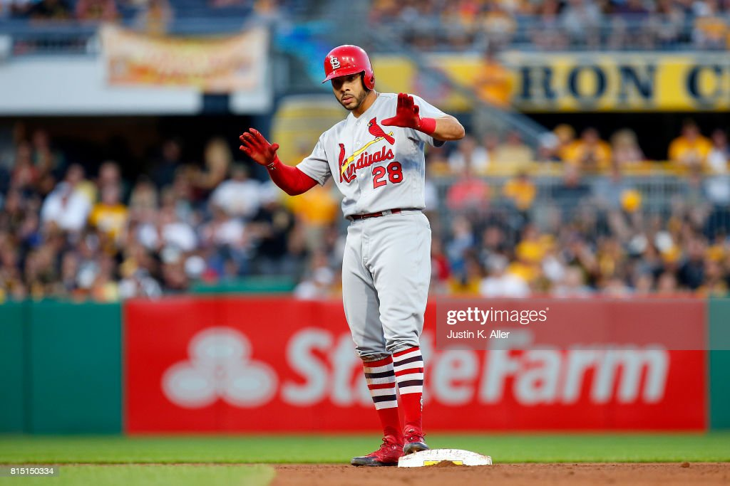 Tommy Pham #28 of the St. Louis Cardinals reacts after hitting a RBI double in the fifth inning against the Pittsburgh Pirates at PNC Park on July 15, 2017 in Pittsburgh, Pennsylvania.