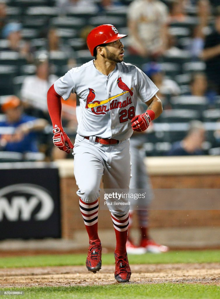 Tommy Pham #28 of the St. Louis Cardinals runs up the line watching his three run home run in the 6th inning of an MLB baseball game against the New York Mets on July 17, 2017 at CitiField in the Queens borough of New York City. Cardinals won 6-3.
