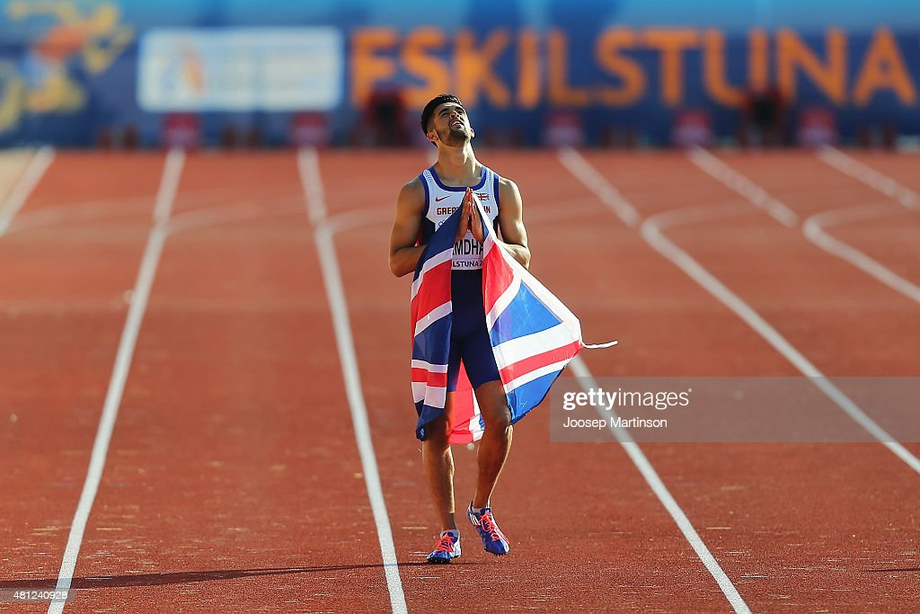 Tommy Ramdhan of Great Britain reacts after the Men's 200m final at Ekangen Arena on July 18 2015 in Eskilstuna Sweden