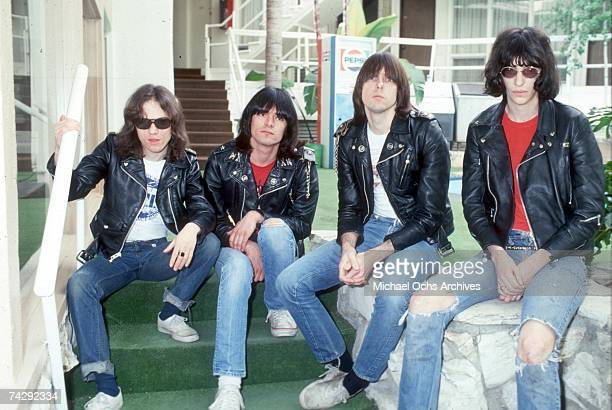Tommy Ramone Dee Dee Ramone Johnny Ramone and Joey Ramone of the rock and roll band 'The Ramones' pose for a portrait holding letters that spell out...