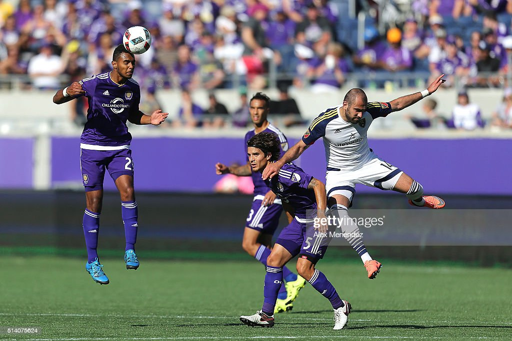 Tommy Redding #29 of Orlando City SC heads the ball during a MLS soccer match between Real Salt Lake and the Orlando City SC at the Orlando Citrus Bowl on March 6, 2016 in Orlando, Florida. The game ended in a 2-2 draw.